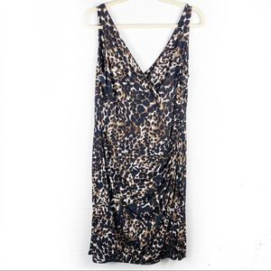 Ralph Lauren Faux Wrap Sheath Dress Leopard Print